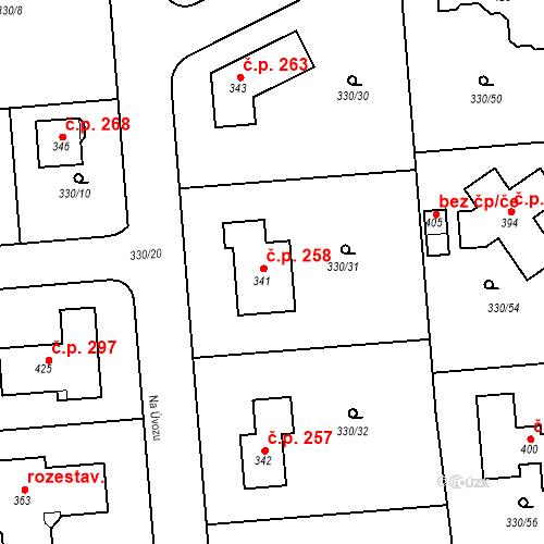 Katastrální mapa Stavební objekt Žilina 258, Žilina