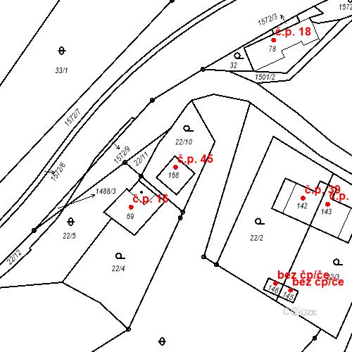Katastrální mapa Stavební objekt Těchoraz 45, Vyšší Brod