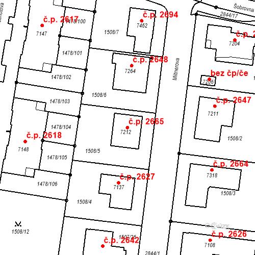 Katastrální mapa Stavební objekt Budějovické Předměstí 2665, Písek