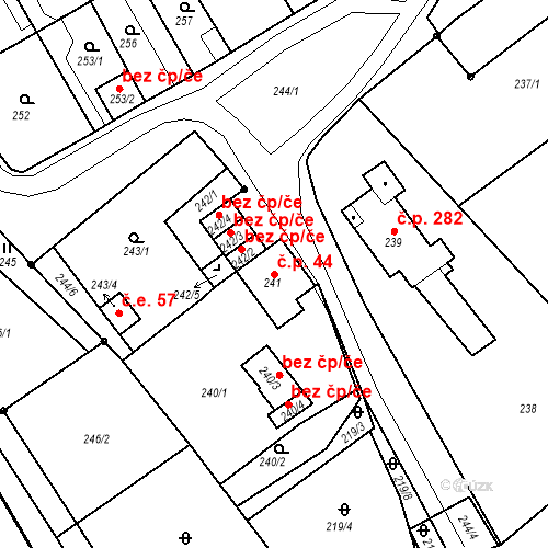 Katastrální mapa Stavební objekt Bystřany 44, Bystřany