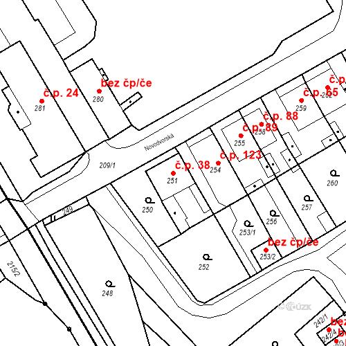 Katastrální mapa Stavební objekt Bystřany 38, Bystřany