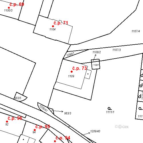 Katastrální mapa Stavební objekt Hostomice 73, Hostomice