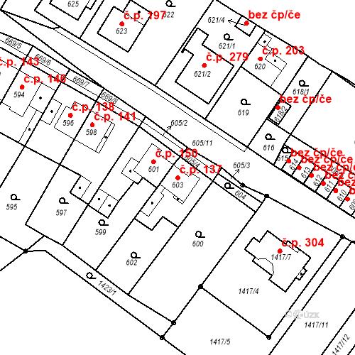 Katastrální mapa Stavební objekt Bystřany 137, Bystřany