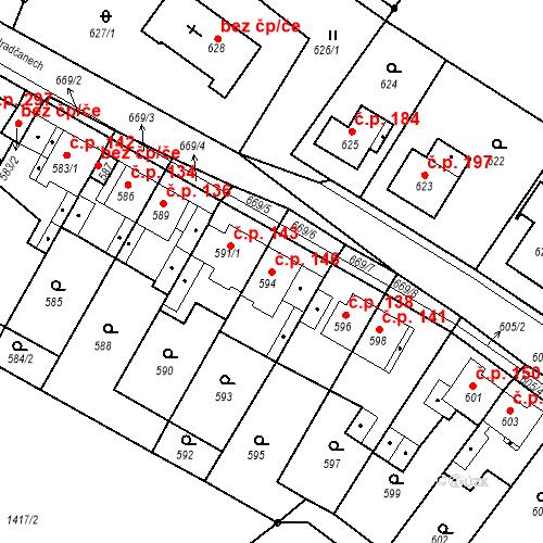 Katastrální mapa Stavební objekt Bystřany 146, Bystřany