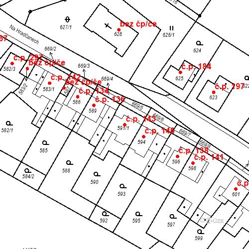 Katastrální mapa Stavební objekt Bystřany 143, Bystřany