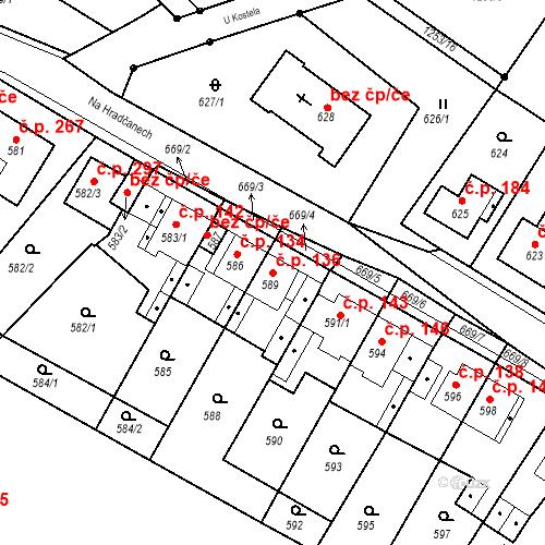 Katastrální mapa Stavební objekt Bystřany 136, Bystřany