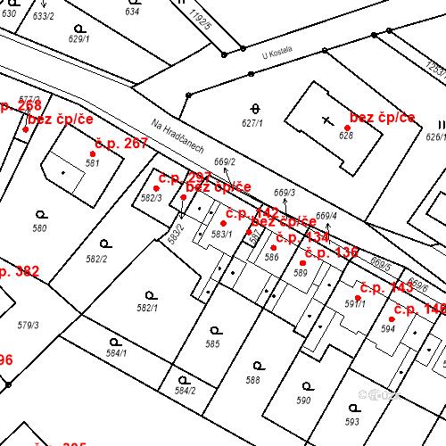 Katastrální mapa Stavební objekt Bystřany 142, Bystřany
