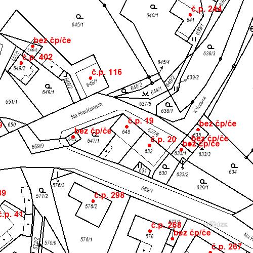 Katastrální mapa Stavební objekt Bystřany 19, Bystřany