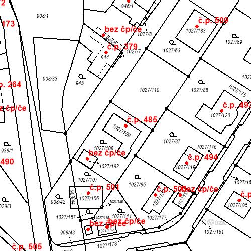 Katastrální mapa Stavební objekt Sobědruhy 485, Teplice