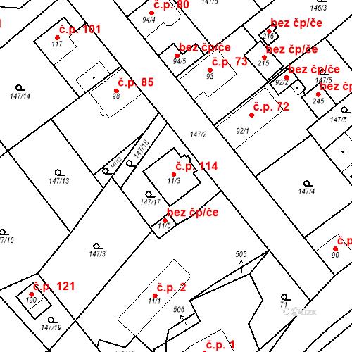 Katastrální mapa Stavební objekt Běleč 114, Běleč
