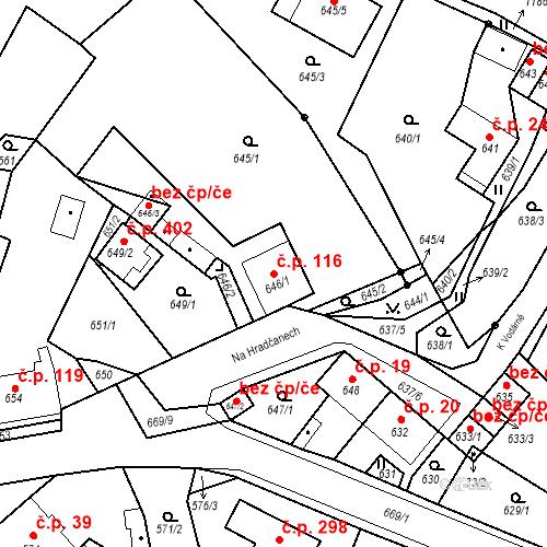 Katastrální mapa Stavební objekt Bystřany 116, Bystřany