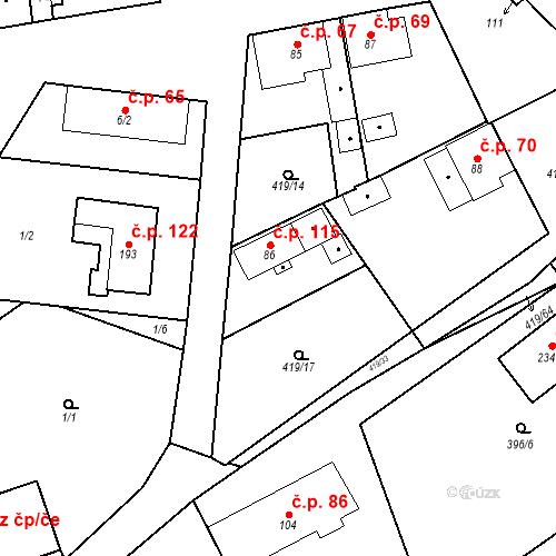 Katastrální mapa Stavební objekt Běleč 115, Běleč