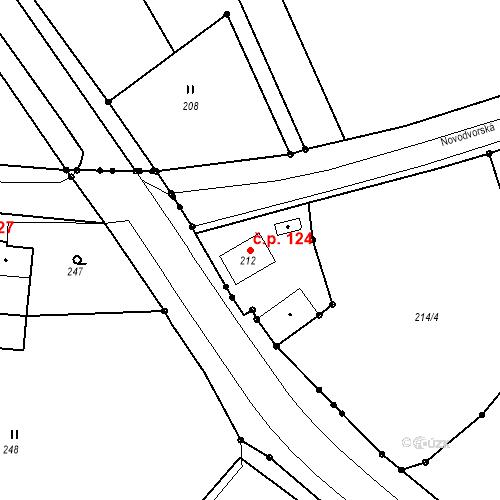Katastrální mapa Stavební objekt Bystřany 124, Bystřany