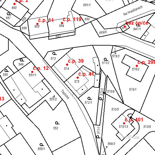 Katastrální mapa Stavební objekt Bystřany 41, Bystřany