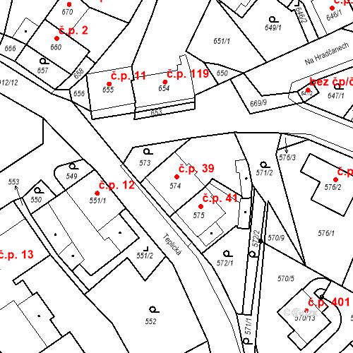 Katastrální mapa Stavební objekt Bystřany 39, Bystřany