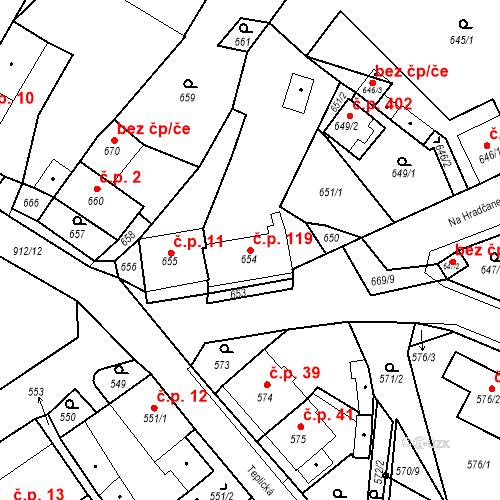 Katastrální mapa Stavební objekt Bystřany 119, Bystřany