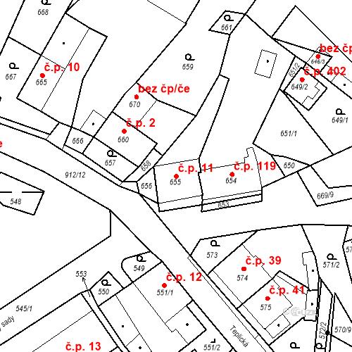 Katastrální mapa Stavební objekt Bystřany 11, Bystřany