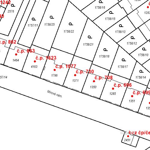 Katastrální mapa Stavební objekt Budějovické Předměstí 730, Písek