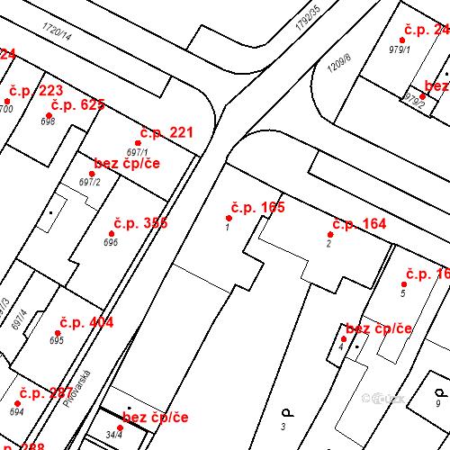 Katastrální mapa Stavební objekt Hostomice 165, Hostomice