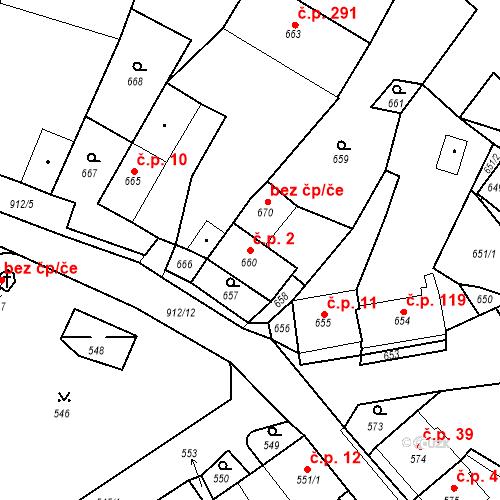 Katastrální mapa Stavební objekt Bystřany 2, Bystřany