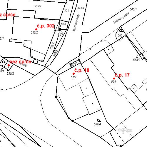 Katastrální mapa Stavební objekt Bystřany 18, Bystřany