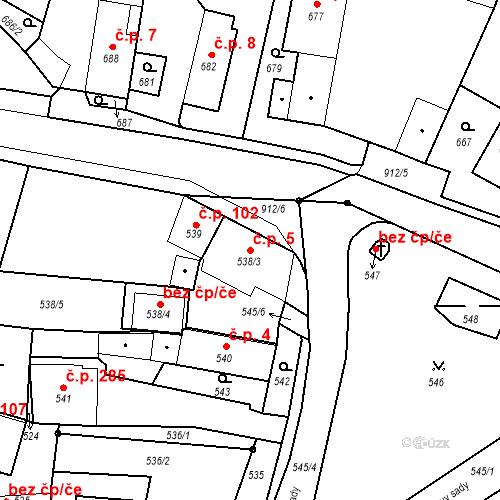 Katastrální mapa Stavební objekt Bystřany 5, Bystřany