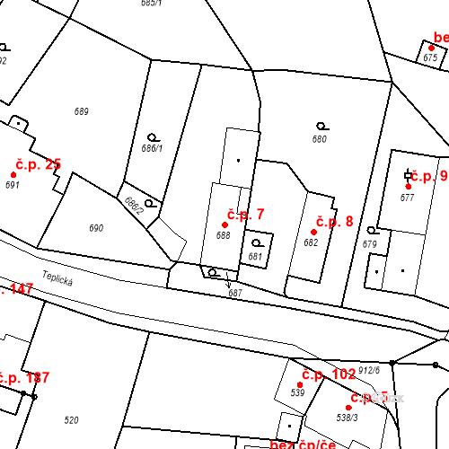 Katastrální mapa Stavební objekt Bystřany 7, Bystřany