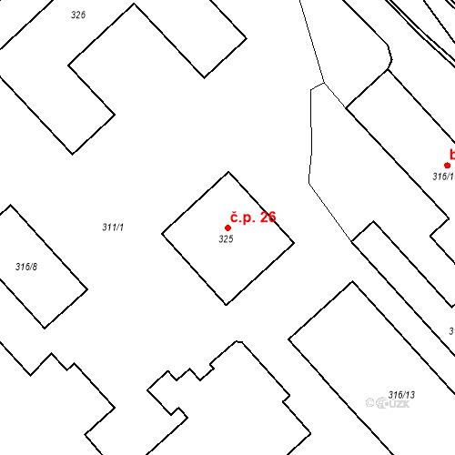 Katastrální mapa Stavební objekt Bystřany 26, Bystřany