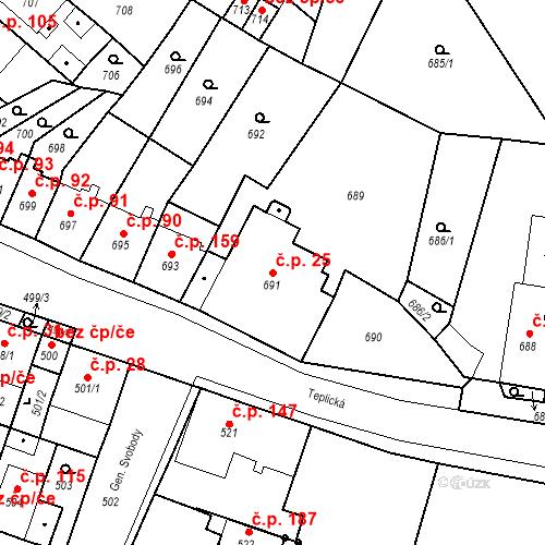 Katastrální mapa Stavební objekt Bystřany 25, Bystřany