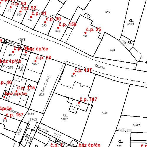 Katastrální mapa Stavební objekt Bystřany 147, Bystřany
