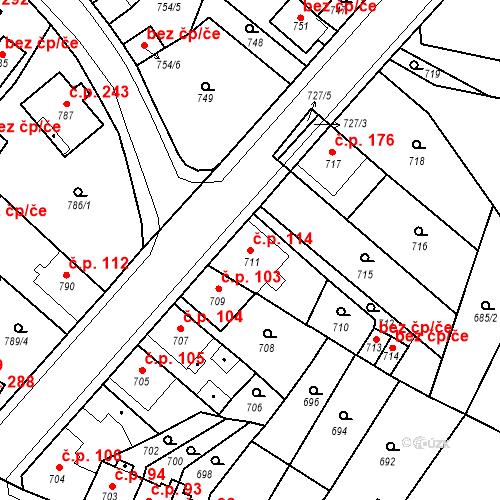 Katastrální mapa Stavební objekt Bystřany 114, Bystřany