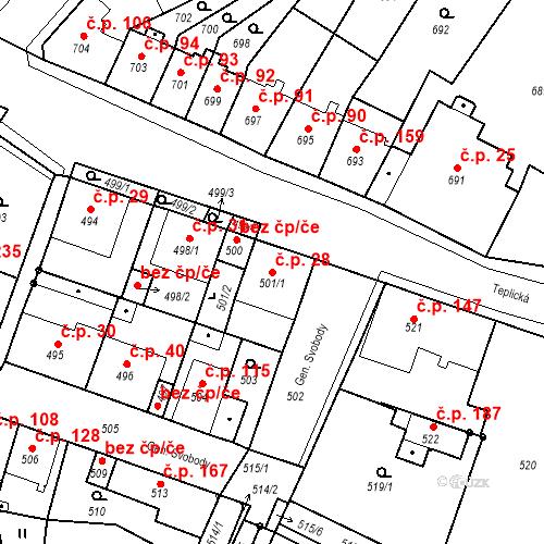 Katastrální mapa Stavební objekt Bystřany 28, Bystřany