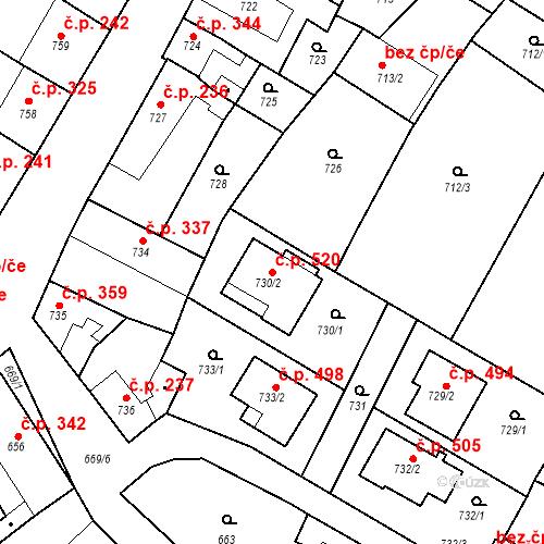 Katastrální mapa Stavební objekt Hostomice 520, Hostomice