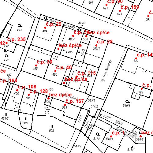 Katastrální mapa Stavební objekt Bystřany 115, Bystřany