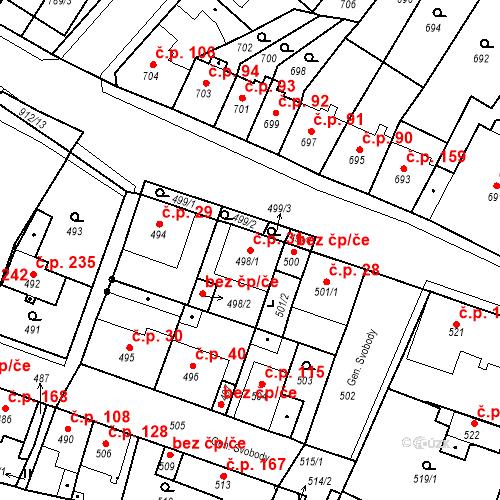 Katastrální mapa Stavební objekt Bystřany 31, Bystřany