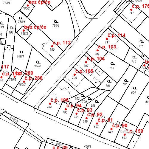 Katastrální mapa Stavební objekt Bystřany 105, Bystřany
