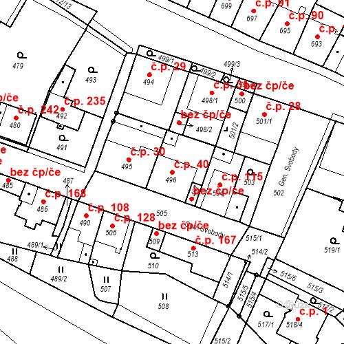 Katastrální mapa Stavební objekt Bystřany 40, Bystřany
