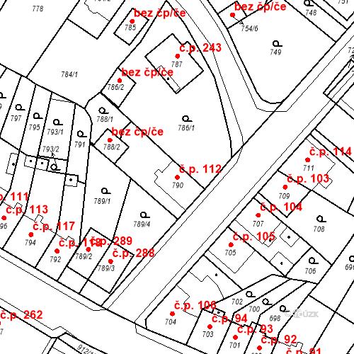 Katastrální mapa Stavební objekt Bystřany 112, Bystřany