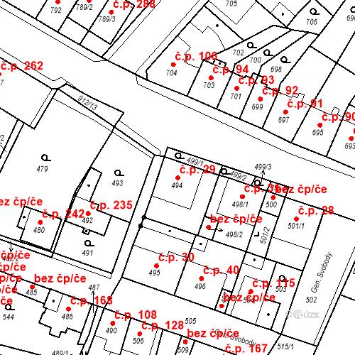 Katastrální mapa Stavební objekt Bystřany 29, Bystřany