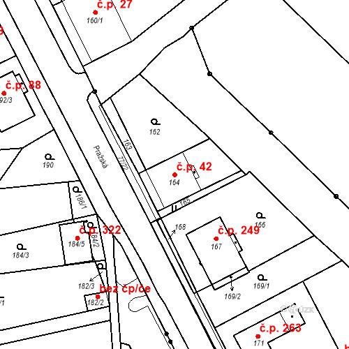 Katastrální mapa Stavební objekt Bystřany 42, Bystřany