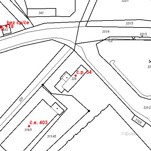 Katastrální mapa Stavební objekt Bystřany 34
