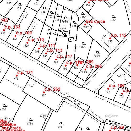 Katastrální mapa Stavební objekt Bystřany 118, Bystřany