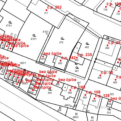 Katastrální mapa Stavební objekt Bystřany 242, Bystřany