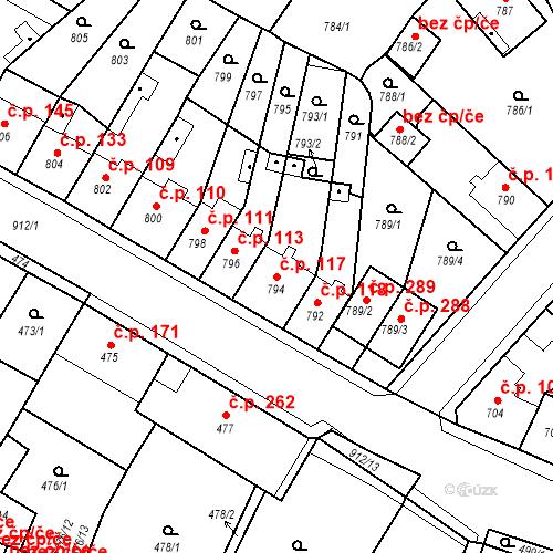 Katastrální mapa Stavební objekt Bystřany 117, Bystřany