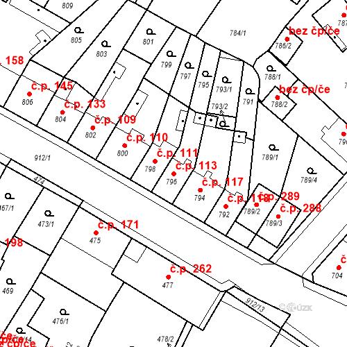 Katastrální mapa Stavební objekt Bystřany 113, Bystřany