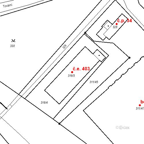 Katastrální mapa Stavební objekt Bystřany 403, Bystřany