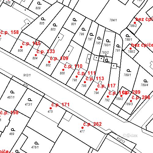 Katastrální mapa Stavební objekt Bystřany 111, Bystřany
