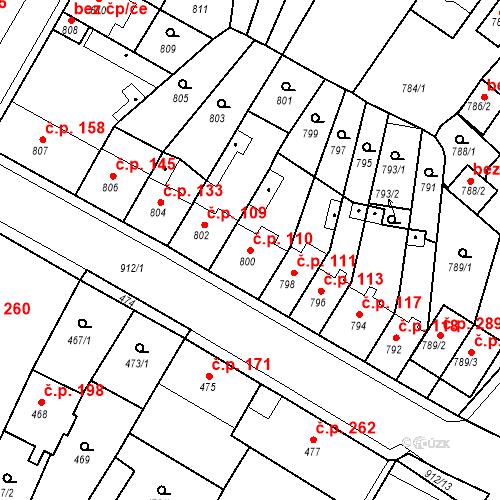 Katastrální mapa Stavební objekt Bystřany 110, Bystřany