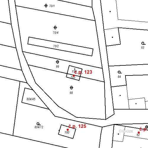 Katastrální mapa Stavební objekt Radonice nad Ohří 123, Peruc