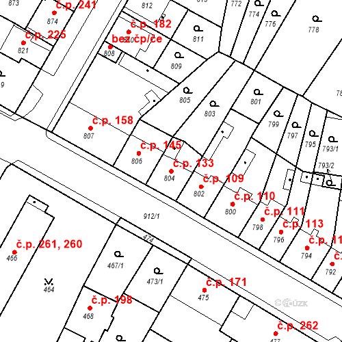 Katastrální mapa Stavební objekt Bystřany 133, Bystřany